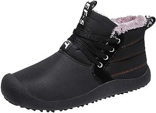 FWEIP Men's Casual Plus Velvet Warm Cotton Boots Waterproof Hiking Comfortable Snow Boots Outdoor Footwear