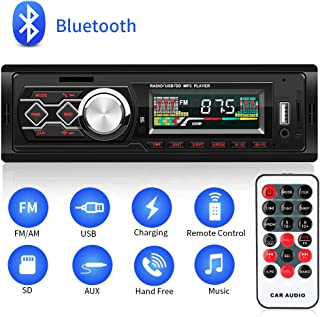 BEESCLOVER Bluetooth Vintage Autoradio MP3-Player Stereo USB AUX Classic Car Stereo Audio Silber Schwarz