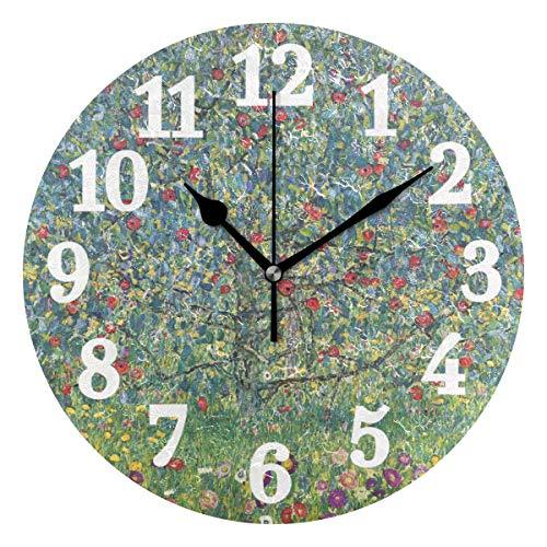 Ahomy Silent Round Wanduhr Obstbaum Gustav Klimt Home Art Decor 25,4 cm Uhr für Wohnzimmer, Schlafzimmer und Küche