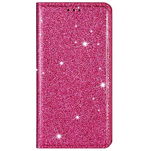 Blllue Funda tipo cartera compatible con Samsung A70, Ultra Thin Glitter Slim Folio Flip Cover para Galaxy A70 - Rosa Rojo