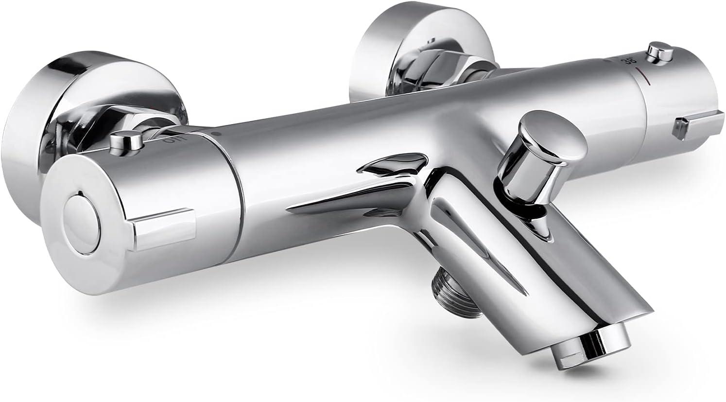 Grifo termostático para bañera (latón, con botón de seguridad de 38 °C, con dos salidas de agua, cromado), Grifos termostático para ducha/baño/ TF-05
