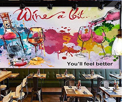 3D Fotomurales Papel pintado Copas de vino colorido doodle No Tejido Murales Moderna Diseño Póster Salón Dormitorio TV Telón de Fondo Pared Hogar Decoración 300x210 cm