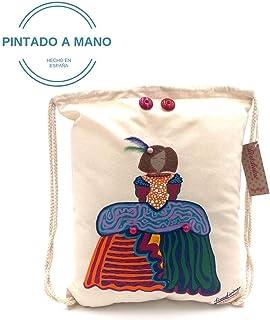 Mochila escolar de algodón Menina pintada a mano