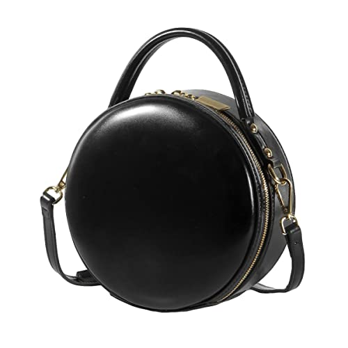 Women s Round Handbag Genuine Leather Handbags For Ladies Crossbody Bags  Small Mini Circle Red Black White