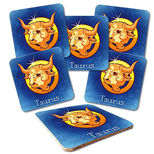 ADDIES Lot de 6 sous-verres en verre avec motif signe du zodiaque STIER-02 dans une boîte cadeau transparente de qualité supérieure et dos en liège Taurus