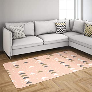 Pink Zigzag Gzoey Area Rugs,Pink Hipster Geometrical Triangle Abstract Golden Geometric Rugs for Living Room Badroom Dorm Rug 5'x7' Carpet Snow White