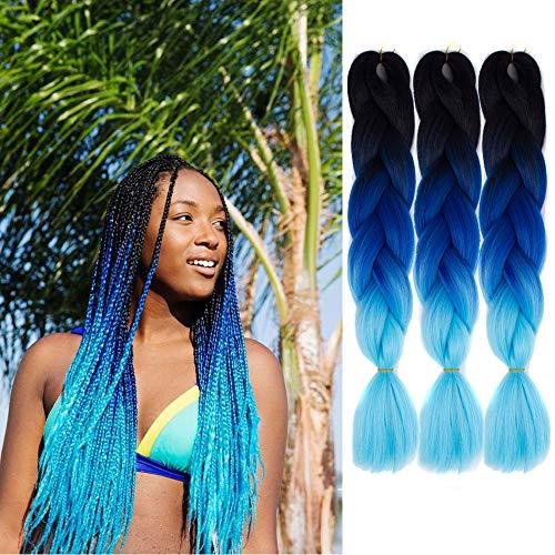 RuiSi Big Braid Extension de 61 cm 3 mèches de cheveux synthétiques tressés Bleu dégradé Contient 3 mèches