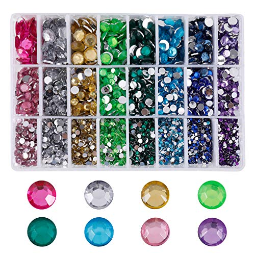 Acrylic Flatback Diamante Rhinestones with for DIY Crafts Handicrafts Clothes Bag Shoes Decorations Mixed Size Round Acrylic Gems Stones 3mm-10mm Multiple Colors