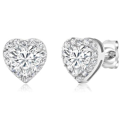 58d0e1522 925 Sterling Silver Heart Shape Women s Halo Cubic Zirconia Earring (2.32  Cttw. 5MM Center