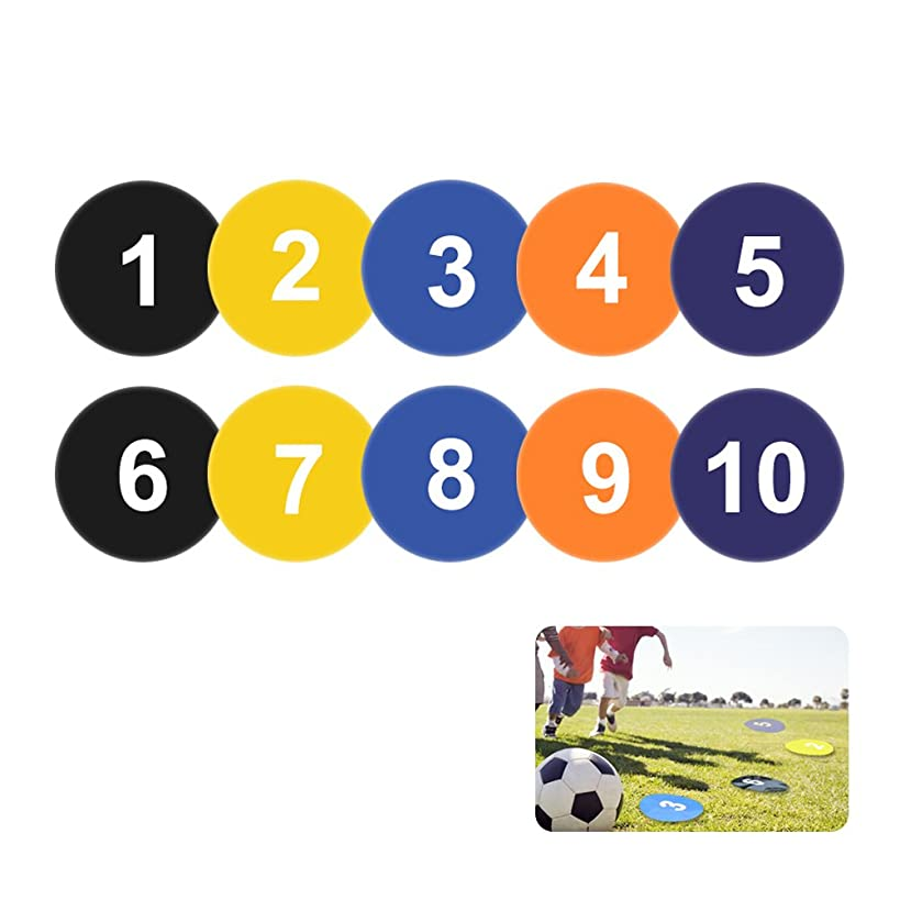 Vankcp Numbered Spot Markers, 9 inch Flat Basketball Court Markers Yard Markers for Basketball Soccer Drills and Training, Speed Agility Training Starter, Pack of 5