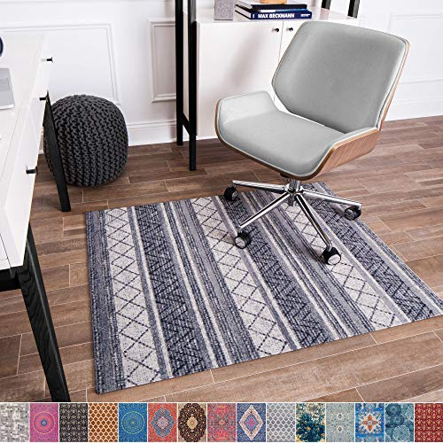 Anji Mountain Chair Mat Rug'd Collection, 1/4' Thick - For Low Pile Carpets & Hard Surfaces, Alesund , Gray Tone Tribal Stripes
