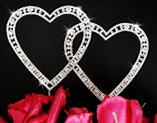Vintage Swarovski Crystal Double Heart Wedding Cake Topper
