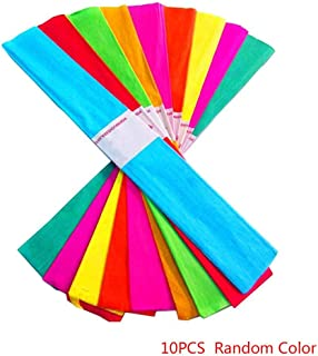 Xuanhemen 10pcs Craft Crepe Paper Roll Sheets Wrapping Florist Streamers Party Birthday Hanging Decoration