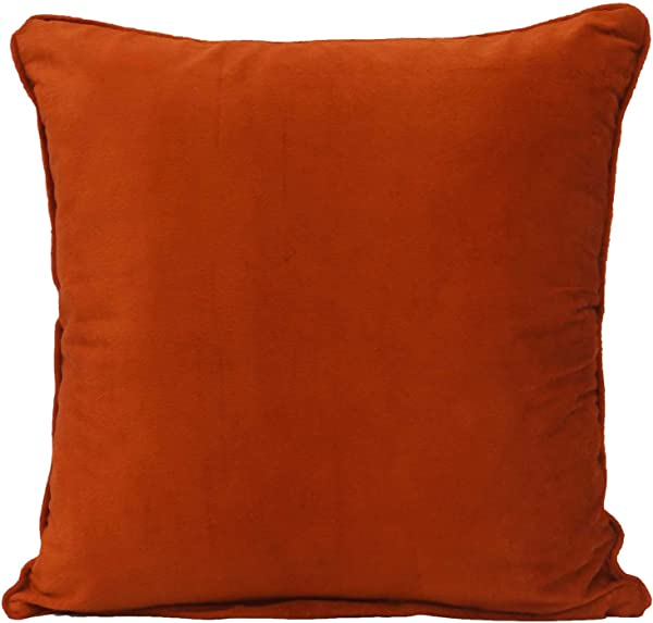 Home Decor Throw Pillow Orange Solid Indian Cushion Cover Velvet Sofa Case 16 X 16 Inches