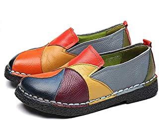 Surprise S Handmade Retro Soft Bottom Flat Shoes Women Autumn Leather Shoes Patchwork Casual Leather Shoes Woman