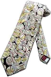 Mens Baseball Autographs Necktie - Beige - One Size Neck Tie