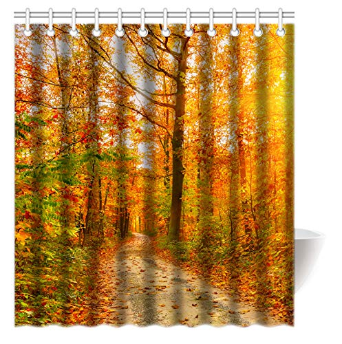 FUNNY KIDS' HOME Fashion Shower Curtains - Romantic Autumn The Fall of Maple Leaves - Custom Personalized Bathroom Curtains Waterproof Polyester Fabric 66(w) x72(h) Rings Included