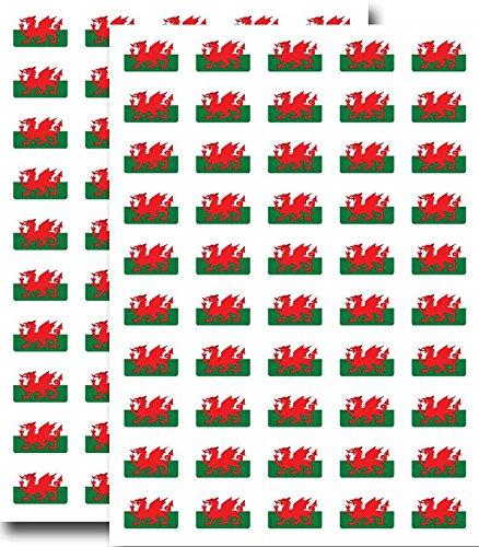 Packung mit 90, 31x20mm, Wales Flagge Sticker Waliser Drache Selbstklebeetiketten