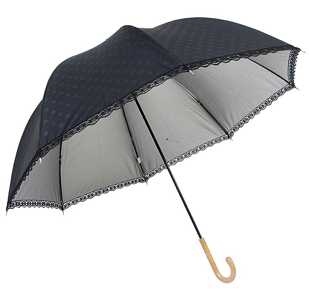 コンベンション一族に慣れLサイズ 晴雨兼用 日傘 UVカット 紫外線遮蔽率99% 生地裏シルバーコーティング エンボス水玉柄 かわいいドーム型(深張仕様) 60cm 手開き傘 (エンボス水玉?黒)