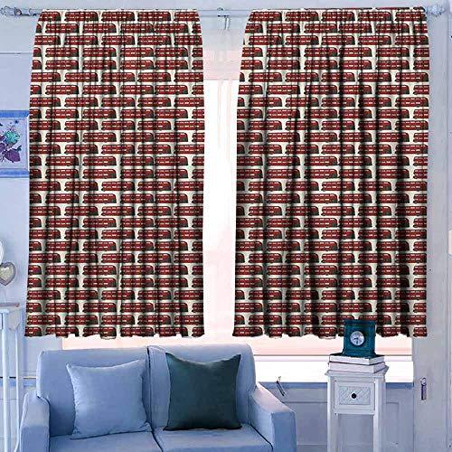 Verduisteringsgordijnen voor slaapkamer voor slaapkamer&keuken&Woonkamer Londen Historische Big Ben en Bus Grote Klokkentoren UK Europe Street Landmark Paars Rood Geel