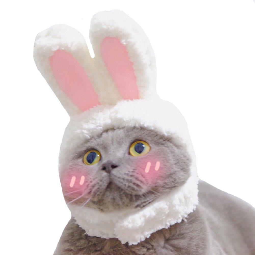 PERTTY 服装 兔子 兔子 帽子 带耳朵 适合猫和小狗 派对服装配饰 头饰