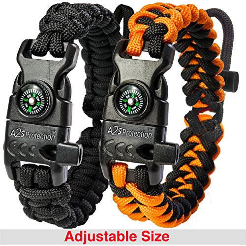 A2S Protection Paracord Bracelet K2-Peak – Survival Gear Kit with Embedded Compass, Fire Starter, Emergency Knife & Whistle (Black/Orange Adjustable Size)