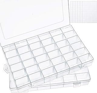جعبه پلاستیکی SGHUO 2 Pack 36 Grids با تقسیم کننده های قابل تنظیم ، ظرف ذخیره سازی پاک برای نامه های نامه ، جواهرات