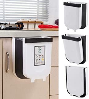 U-HOOME Hanging Trash Can Folding Waste Bins Kitchen Foldable Trash Can Collapsible Garbage Can for Home Kitchen Room Cabi...