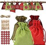 Adventskalender zum Befüllen,Adventskalender zum Selber Befüllen Selbstgemachte Adventskalender,mit 1-24 Aufkleber und Hanfseil Jutebeutel, Stoffbeutel, Weihnachten Geschenksäckchen mit Zugband