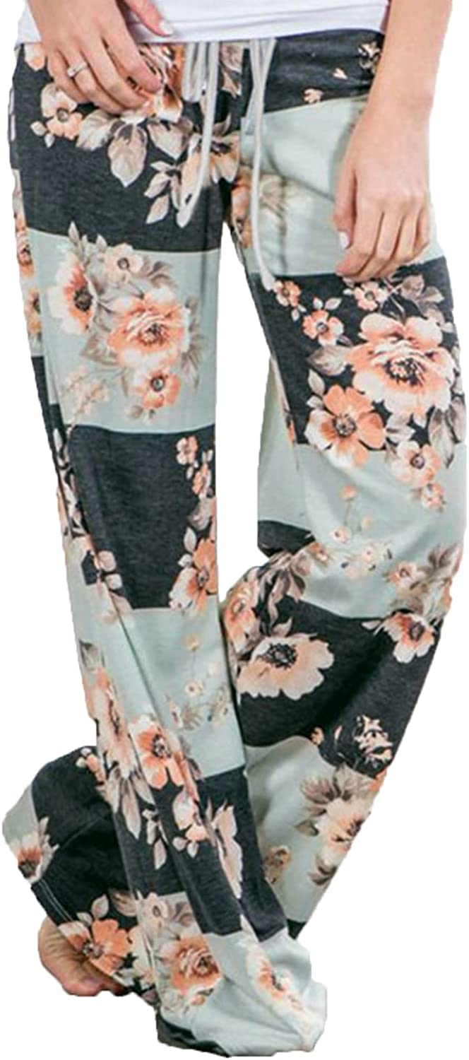 Women's Printed Wide-Leg Pants Comfy Stretch Floral Print Drawstring Lounge Trousers Casual Stretchy Casualpants (Large,Green 2)