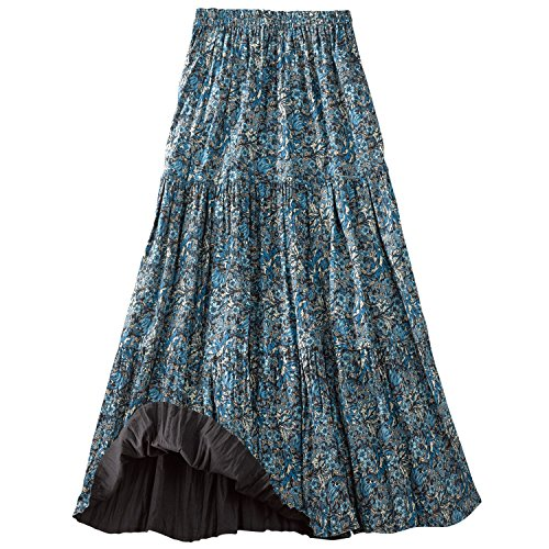 CATALOG CLASSICS Women's Reversible Broomstick Skirt - Blue Lagoon Paisley Print Reverse to Black - Large
