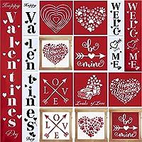 木製ペイント用バレンタインステンシル Happy Valentine's Day デコレーション装飾 ウェルカムバレンタインサイン付き 美しいパターンステンシル ティアードトレイ バレンタインデーの装飾