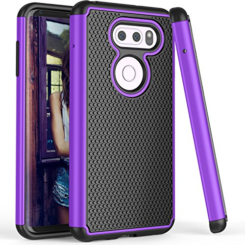 LG V30 Case, LG V30 Plus Case, TILL(TM) [Purple] [Shock Absorption] 2 In 1 Dual Layer Hybrid Armor Defender Rubber & Plastic Protective Cute Case Cover Shell for LG V30 / LG V30 Plus 2017 All Carriers