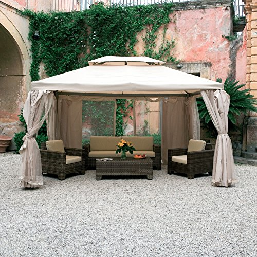Luxurygarden Gazebo in Alluminio mt. 3x4 con Telo Impermeabile Teli Laterali zanzariere Sahara