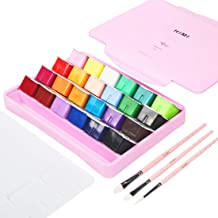 HIMI Gouache Paint Set 24 Vibrant Colors Non Toxic Paints Jelly Cup Design with Palette Paint Brushes Portable for Artist ...