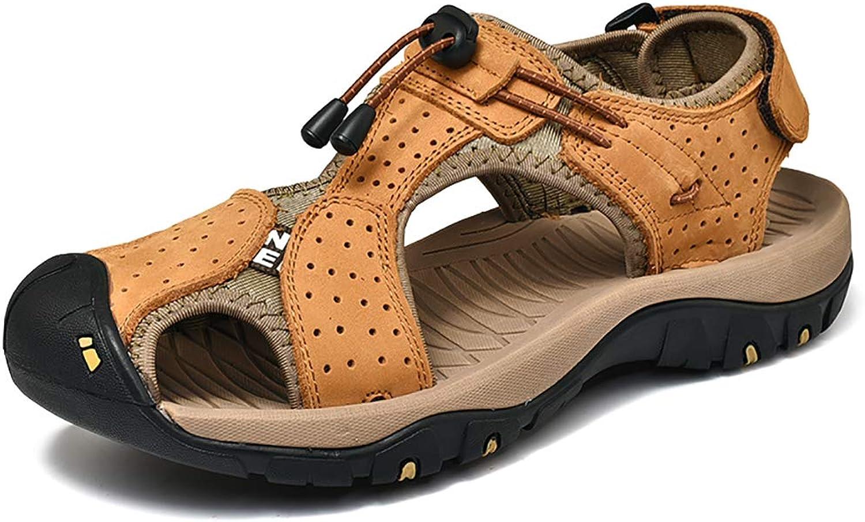 Herren-Sommersandalen, Sport-Sandalen im Freien Freien Freien Herren Strandschuhe Leder lässige atmungsaktive Anti-Skid zu Fuß,a,38 506c98