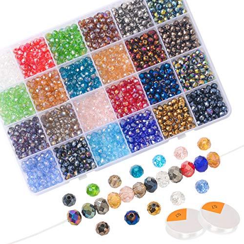 LAOYE Lot de 1200 Perles de Verre à Facettes 24 Couleurs avec 20 m de Fil de Bijoux Double Cône Perles Cristal de 6 mm pour Bricolage Collier Bracelet