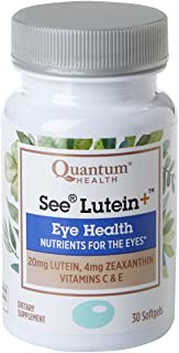 Quantum Health See Lutein+ Softgels, Eye Supplement, Eye Health - Lutein, Zeaxanthin, Vitamin C and E - 30 Count