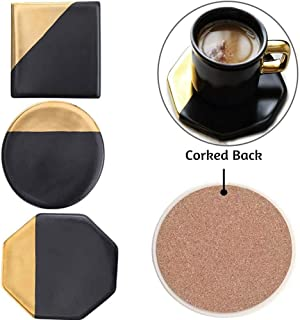 Drink Coaster,Marble Gold Black Bar Coaster Set of 3 for Tabletop Protection,Modern Absorbing Table Cup Coasters with Non-Slip Cork Back Pad