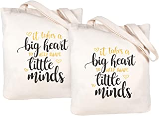 Caraknots Teacher Appreciation Gift Teacher Gifts Bag Canvas Teacher Bag and Tote with Pocket Teacher Bag set of 2