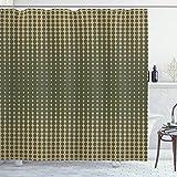 ABAKUHAUS olivgrün Duschvorhang, Vintage ovale Punkte, mit 12 Ringe Set Wasserdicht Stielvoll Modern Farbfest & Schimmel Resistent, 175x200 cm, Olivengrün Hellbraun