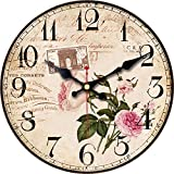 WISKALON 14 Inch Wood Wall Clocks Battery Operated Silent Non Ticking Vintage Hanging Clock Large Decorative Quartz Wall Clock for Kitchen,Bedrooms,Living Room,Bathroom -Pink Flowers