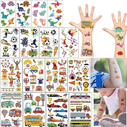 COOLON Tattoo Kinder, Temporäre Tattoos Set-16 Blätter wasserdichte Kindertattoos mit Dinosaurier,Zirkus, Fußball und Fahrzeuge, Aufkleber für Jungs, Kindergeburtstag Mitgebsel, Party, Festival