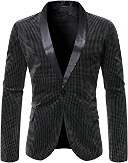Men's Slim Fit 1 Button Shawl Dinner Jacket Long Sleeve Tux Blazer