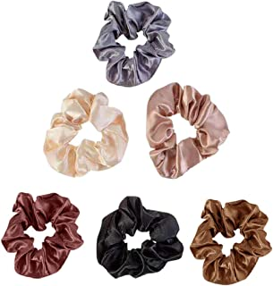 Elastic Hair Bands Silk Women Girls Solid Color Hair Scrunchies Ponytail Holder Hairbands Scrunchy Ties Ropes Accessories Cheap Pack 6 PCS