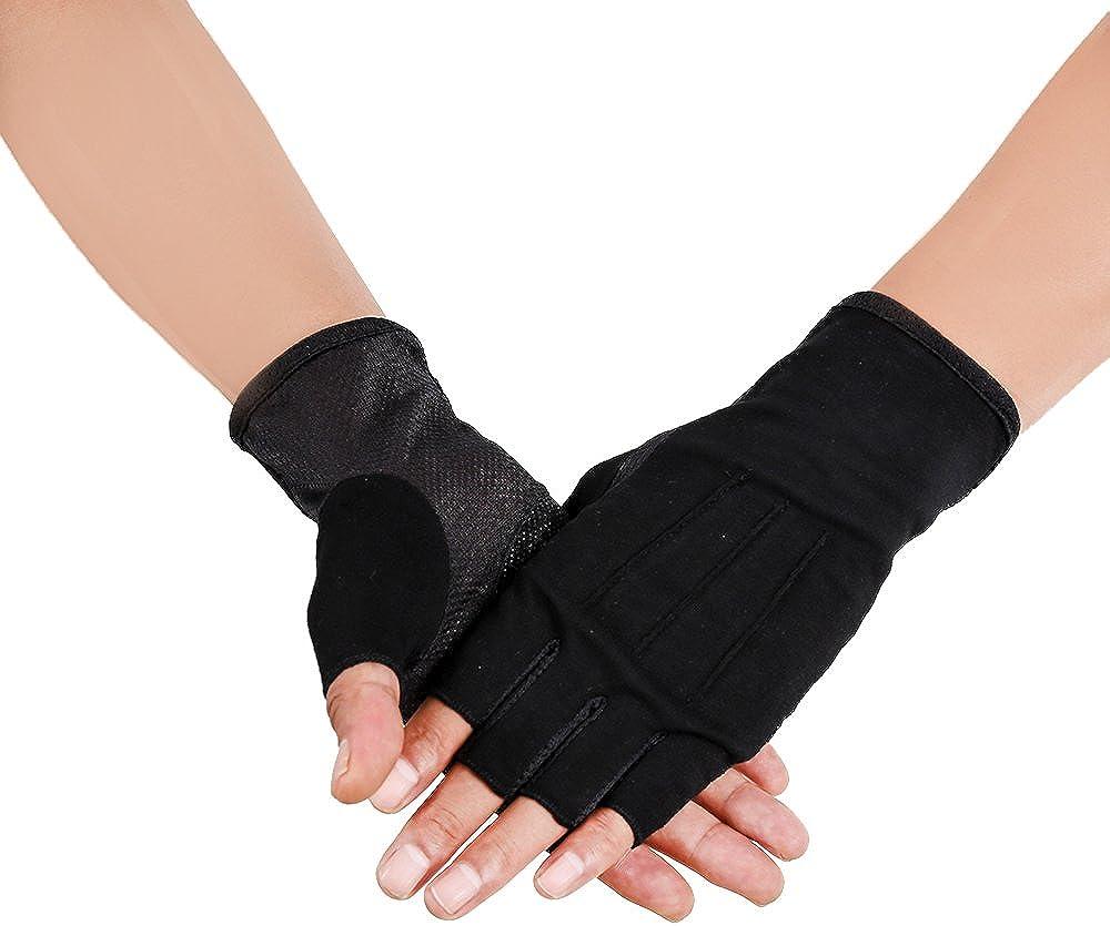 JISEN Men Sunscreen Fingerless Cotton Gloves UV Protection Driving Polyester Mittens