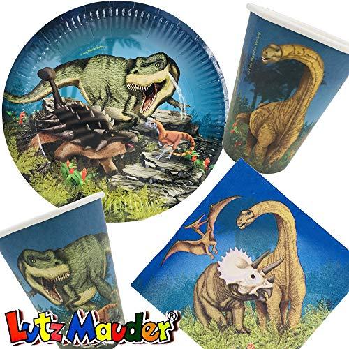 37-TLG. Party-Set * Dinosaurier & T-REX * mit Teller, Becher, Servietten und Deko für Kindergeburtstag und Mottoparty von Lutz Mauder | Kinder lieben Diese Dinos zum Geburtstag und Motto-Party