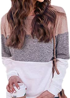 Frieed Womens Casual Long-Sleeve Blouse Loose Fit Colorblock Pullover Top Shirts