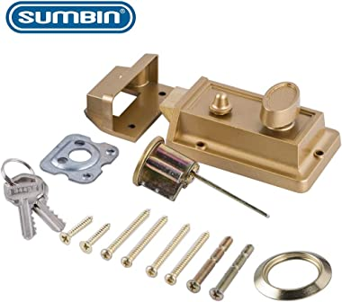 SUMBIN Night Latch Deadbolt Rim Lock,Antique Locks with Keys for Front Door,Gold Finish