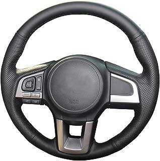 Eiseng DIY Genuine Leather Steering Wheel Cover for 2015 2016 2017 Subaru Legacy / 2017 2018 Forester / 2015 2016 2017 Outback / 2016 2017 Crosstrek / 2016 XV Sew Interior Accessories (Black Thread)